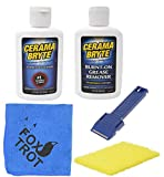 Cerama Bryte Complete Cooktop Cleaning Kit   Includes Cerama Bryte Cooktop Cleaner   Cerama Bryte Burnt On Grease Remover   Scraper Scrubber Combo   Foxtrot Microfiber