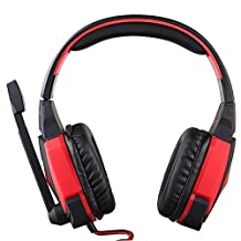 Gaming Headsets, Lifenergy USB Stereo Gaming Headphone Headset Headband with Microphone Volume Control LED Light for PS3 PC Game - Red in Black