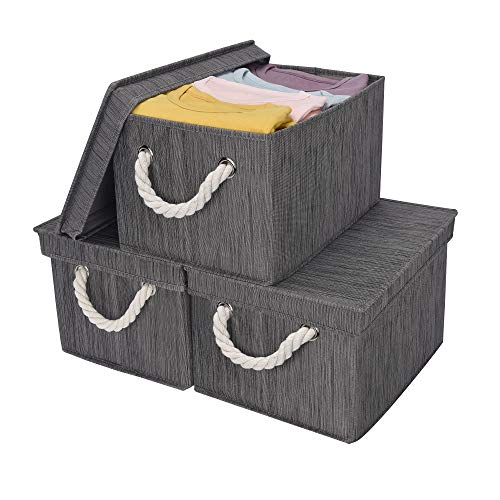 StorageWorks Storage Bins with Lid and Cotton Rope Handles, Foldable Storage Basket, Taupe, Bamboo Style, 3-Pack, Large,14.4x10.0x8.5 inches (LxWxH)