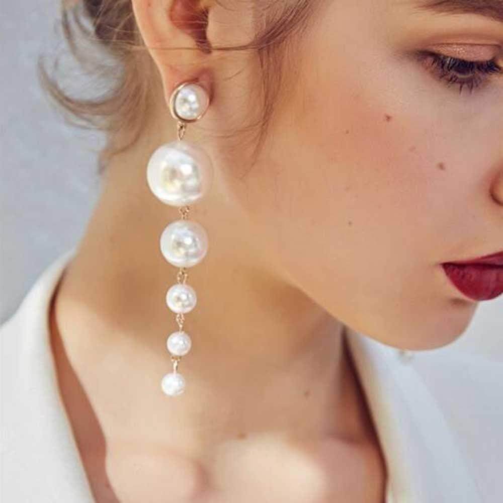 Jovono Boucles doreilles longues cr/éatives avec perle pour femme et fille