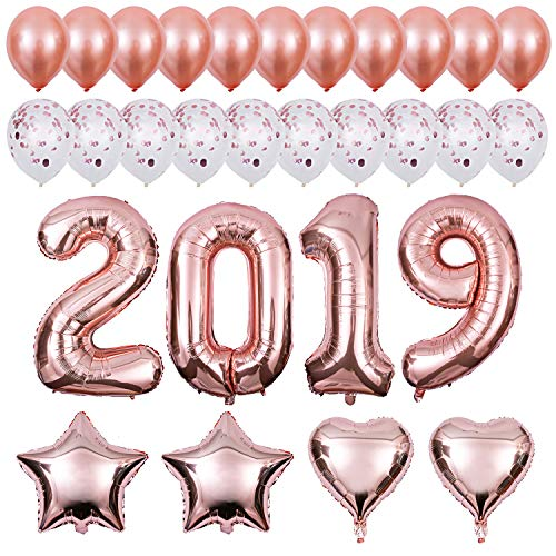 2019 Balloons kit Rose Gold, New Year Celebration Decorations - 40 Inch Foil Balloons, Confetti Balloons for Wedding Bridal Shower and Children Graduation Party Decorations Supplies