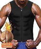 Eleady Neoprene Sauna Sweat Suits,Zipper Closure Tank Top Shirt for Weight Loss,Waist Trainer Vest Slim Belt Workout Fitness (Black Sauna Tank Top Men, M)