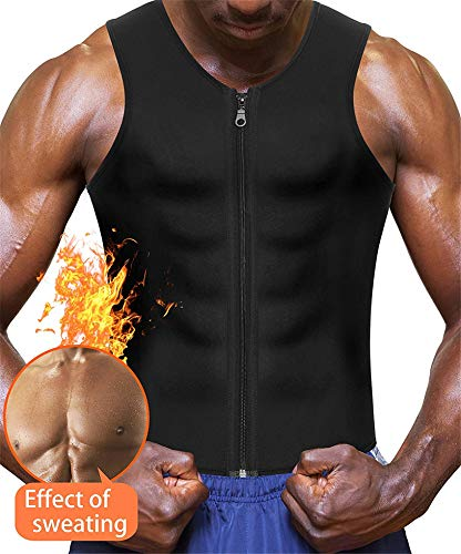 (Eleady Neoprene Sauna Sweat Suits,Zipper Closure Tank top Shirt for Weight Lost,Waist Trainer Vest Slim Belt Workout Fitness (Black Sauna Tank Top Men,)