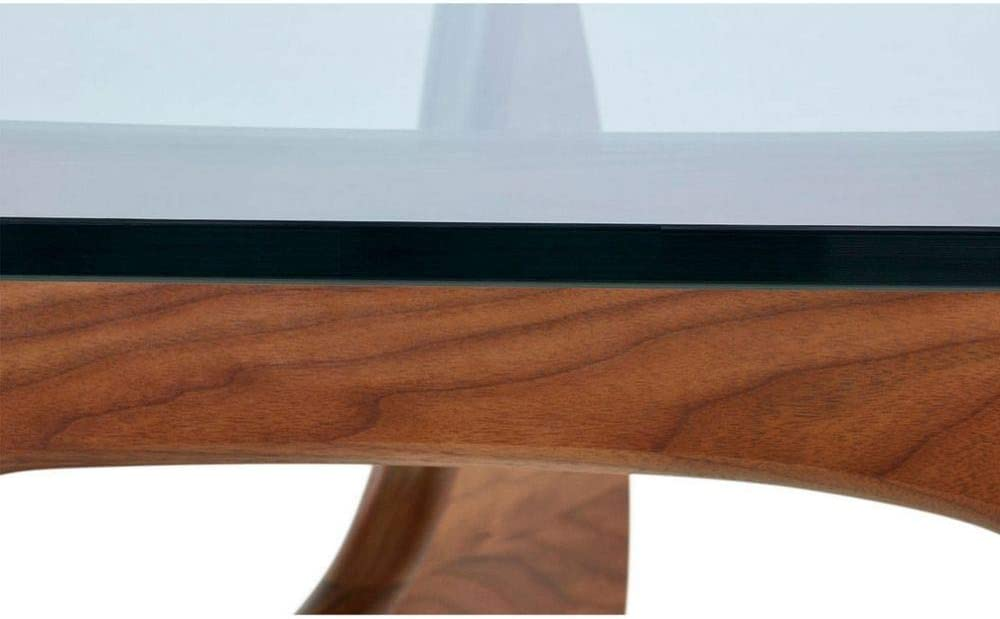 Take Me Home Furniture TMH-HT-09 Noguchi Large Walnut Coffee Table with Glass Top Dark Wood Finish