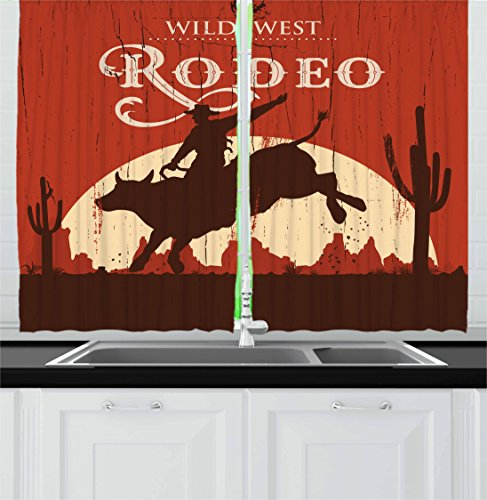 Ambesonne Vintage Kitchen Curtains, Rodeo Cowboy Riding Bull