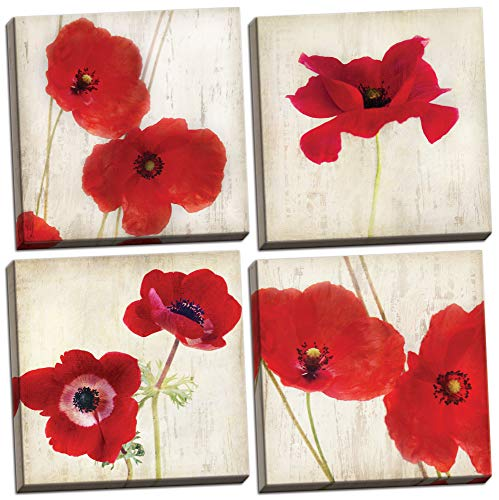 (Gango Home Decor Beautiful Bright Red California Poppies; Set of Four 12x12in Canvases)