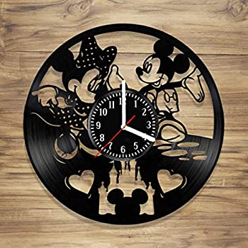 DecorArt Studio Walt Disney Vinyl Record Wall Clock Mickey Mouse Minnie Mouse Love Cartoon Life Gift Handmade Art Home Unique Gift idea Him Her (12 inches)