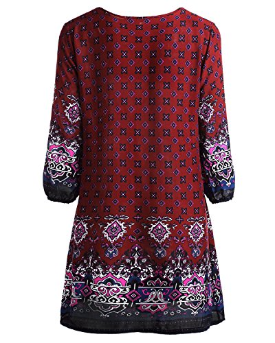 Floral 2 Dress Loose Red Vintage Women's Style Boho BaiShengGT Tunic Casual Printed Ethnic xqgCxwP