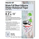 """Milcoast Matte Colored Full Sheet 8.5 x 11"""" Adhesive Tear Resistant Waterproof Photo Craft Paper – for Inkjet/Laser Printers (25 Sheets, Pastel Blue)"""