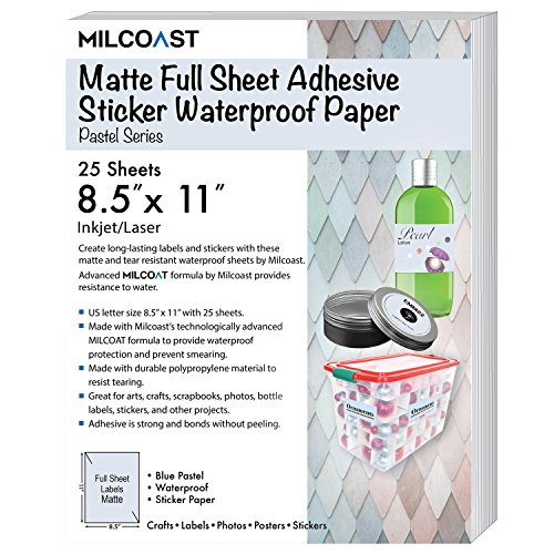 "Milcoast Matte Colored Full Sheet 8.5 x 11"" Adhesive Tear Resistant Waterproof Photo Craft Paper – For Inkjet / Laser Printers (25 Sheets, Pastel (Matte Paper Letter)"