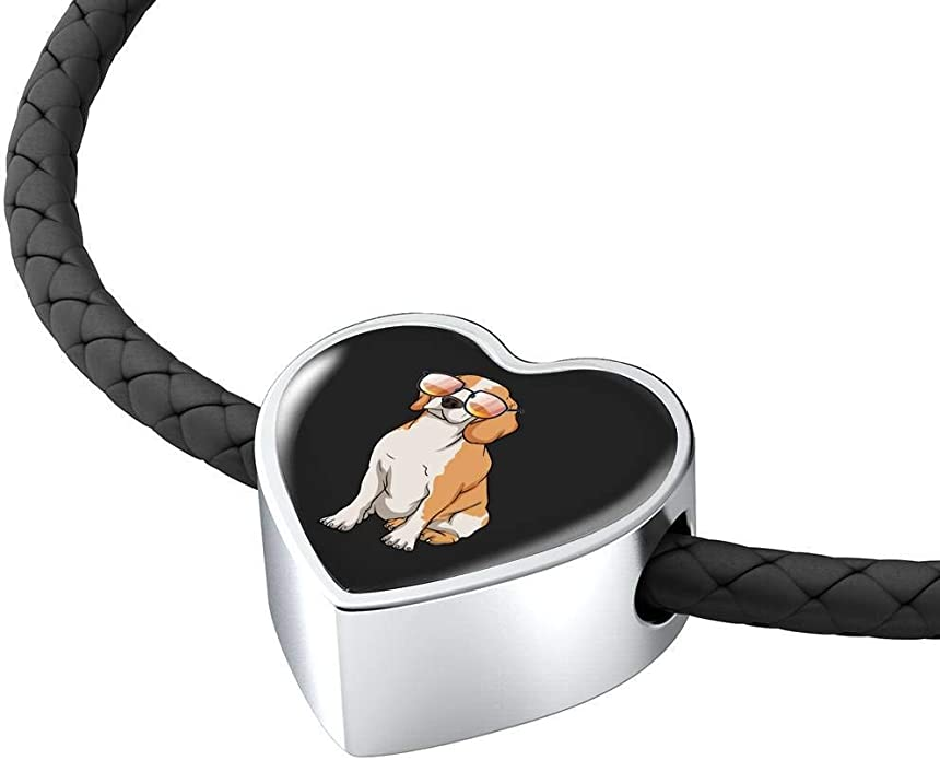 Weezag Beagle Charm Leather Bracelet for Cute Dog Lovers