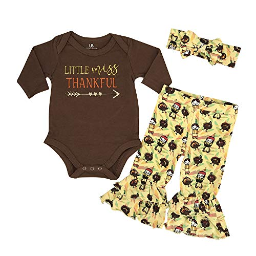 Unique Baby Girls Little Miss Thankful My 1st Thanksgiving Onesie Outfit (9 Months) Brown