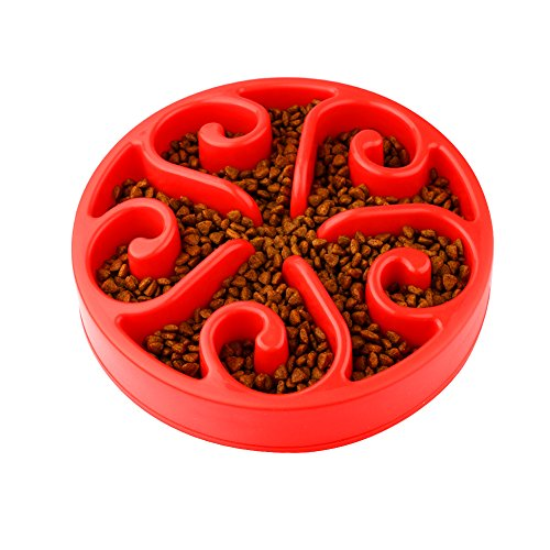 Accmor Slow Feed Dog bowl, Red Bloat Stop Slow Feeder Dog Bowl with Non-slip Bottom, Fun Interactive Feeder Slow Feed Food & Water Bowl for Dog Cat, Eco-friendly, Durable, Non Toxic