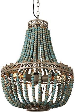 Newrays Vintage Antique Blue White Wood Bead Chandelier Pendant Three Lights Finishing Ceiling Fixtures