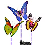 Solar Powered Lights ,Solarmks 3 Pack Butterfly Solar Lights Outdoor Color Changing Fiber Optic Butterfly Garden Butterfly Lights with a Purple LED Light Stake