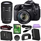 Canon EOS 70D 20.2 MP Digital SLR DSLR Camera with Dual Pixel CMOS AF Full HD 1080p Video with EF-S 18-135mm f/3.5-5.6 IS STM Lens + EF-S 55-250mm F4-5.6 IS STM