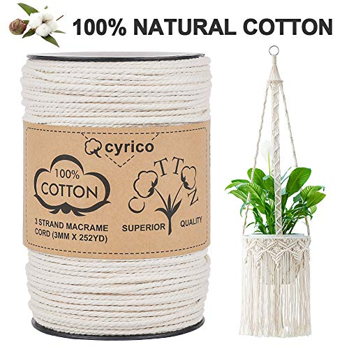 cyrico Macrame Cord 3mm x 252 Yards, 100% Natural Unbleached Cotton Macrame Rope - 3 Strands Twisted Macrame Cotton Cord for Wall Hangings, Plant Hangers, Gift Wrapping and Wedding Decorations