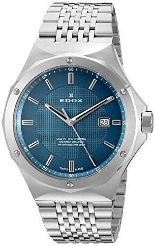 Edox Men's 53005 3M BUIN Delfin Analog Display Swiss Quartz Silver Watch
