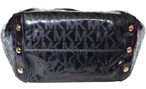 2bf50f14eae7 Michael Kors Black MK Mirror Metallic Signature Delancy Large Shoulder Bag  Tote Handbag Purse