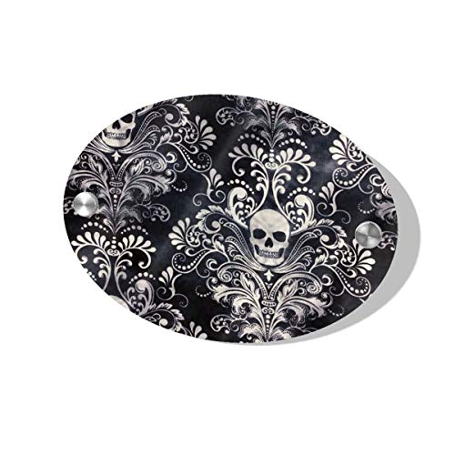 Rod Whitehead Gothic Skull Damask Scary Halloween Door Sign for Home, Hotel, Office 1/4