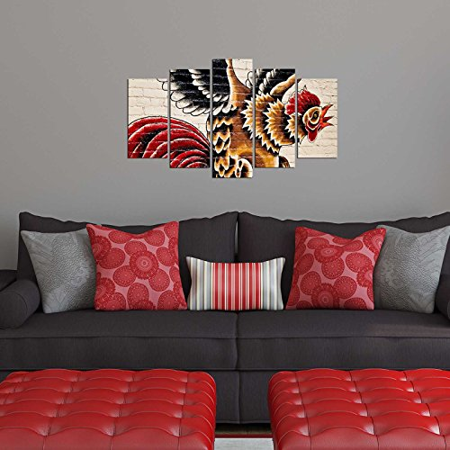 (LaModaHome Farm Animal MDF Wall Art - Rooster is Roaring, Crow - Ready to Hang Painting, Total Size (43