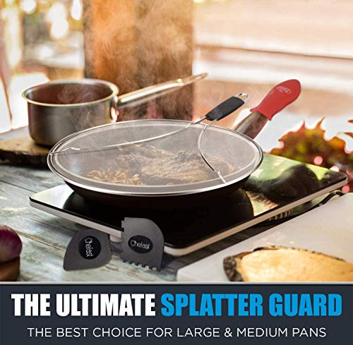 Chefast Splatter Screen Set: 13 Inches Stainless Steel Oil Splash Guard, Grill and Cooking Pan Scrapers, and Silicone Hot Handle Holder - Grease Screen for Frying Pans and Skillet