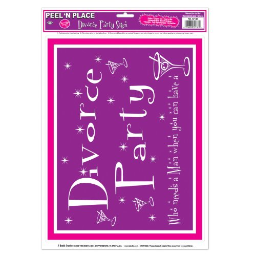 Beistle 57183 Divorce Party Peel 'N Place, 12-Inch by 17-Inch Sheet