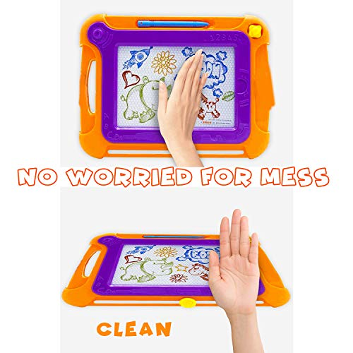 Ziwing Magnetic Drawing Board & Pad with Multi-Colors Drawing Screens and Magna Pen for Kids Toddlers - Doodle - Sketch - Etch and Erasable Free, Toys Gifts for 3 4 5 6 Year Old Boys Grils - 2 Pack