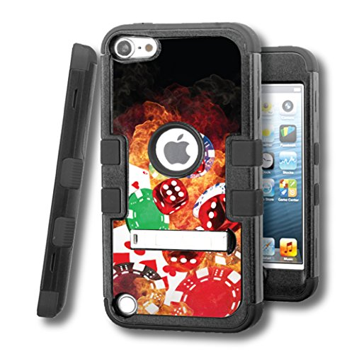 iPod touch 5 Case, CASECREATOR[TM] For Apple iPod touch 5 5G 5th GEN () -- TUFF Hybrid Stand Rubber Hard Snap-on Case Black Black-Cards Dice Chips