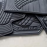Floor Mats for Vw Beetle OEM Genuine - All Weather - Heavy Duty - (2012,2013,2014,2015,2016,2017,2018, 2019) Complete Set (Black Letters)