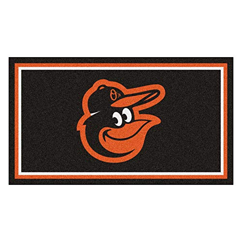 (MLB Baltimore Orioles 3 Ft. x 5 Ft. Area RUG3 Ft. x 5 Ft. Area Rug, Black, 3' x 5' )