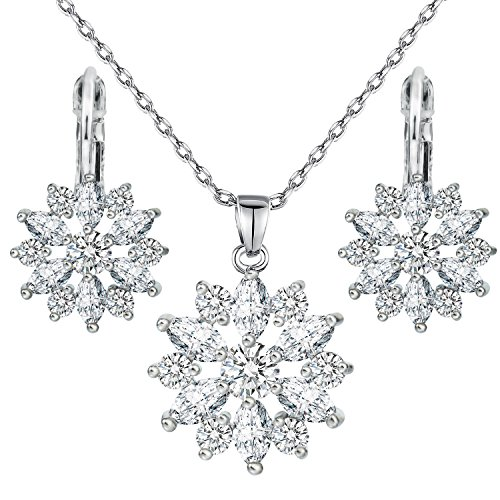 Necklace Earrings Set Morenitor Snowflake Pendants