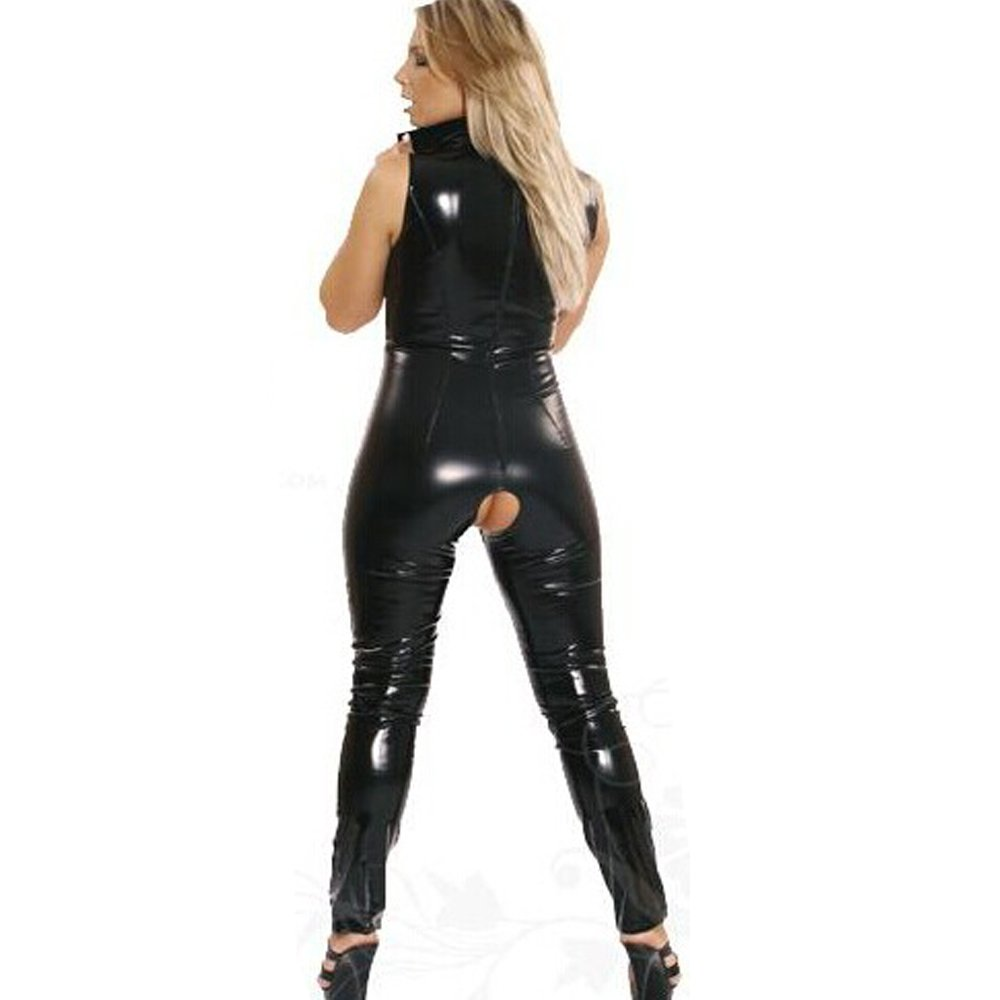 87ee23e7c51d1c Amazon.com: Fashion Queen Women's Sexy Wet Look Lace up Catsuit Open Crotch:  Clothing