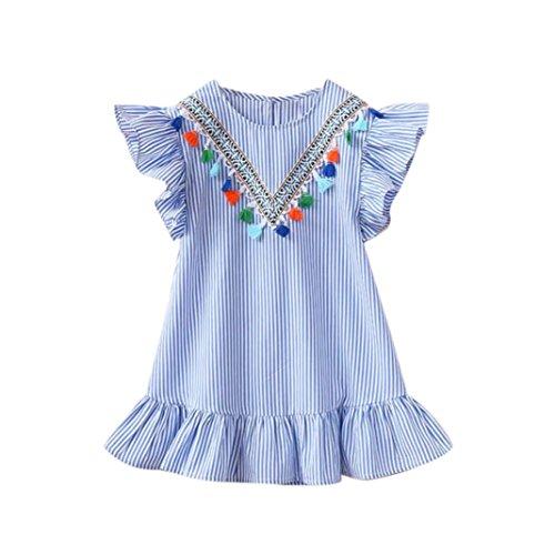 G-real Stylish Ethnic Striped Dress Toddler Girls Kids Ruffles Sleeve Tutu Princess Casual Dress (Blue, 6-7T)