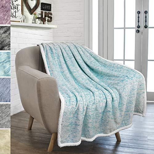 (PAVILIA Premium Sherpa Throw Blanket for Couch Bed Sofa | Warm, Soft Microfiber Sherpa Fleece Throw | Plush Reversible Melange All Season Blanket (50 X 60 Inches Light Sea Blue))