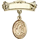 14kt Yellow Gold Baby Badge with St. Gertrude of Nivelles Charm and Arched Polished Badge Pin 7/8 X 3/4 inches