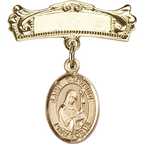 14kt Yellow Gold Baby Badge with St. Gertrude of Nivelles Charm and Arched Polished Badge Pin 7/8 X 3/4 inches by Bonyak Jewelry Saint Medal Collection