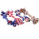 Dog Rope Toys,5ivepets Puppy Dog Pet Rope Toys For Small to Medium Dogs Cotton Rope Chew Toys Colors Vary 2-Knots (Pack of 4 & Random color)