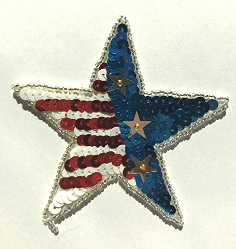 (Patriotic USA American Star Beaded Sequined Sew-On Applique Patch (Pack of 2))