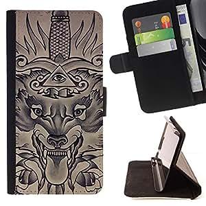 Momo Phone Case / Flip Funda de Cuero Case Cover - Freemasons Eye Pyramid Sword - LG G4c Curve H522Y (G4 MINI), NOT FOR LG G4