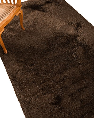 NaturalAreaRugs Reagan Polyester Shag Area Rug, Hand Tufted, Stain Resistant, Soft, Durable, Luxurious, Cotton Backing, Coffee Color, (5 Feet X 8 Feet) For Sale