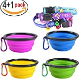 Widhbndxsf Collapsible Pet Bowl - Food Grade Silicone - BPA Free - - Foldable Expandable Cup Dish for Pet Dog - Cat Food Water Feeding Portable Travel Bowl Free Carabiner - (4Pack )