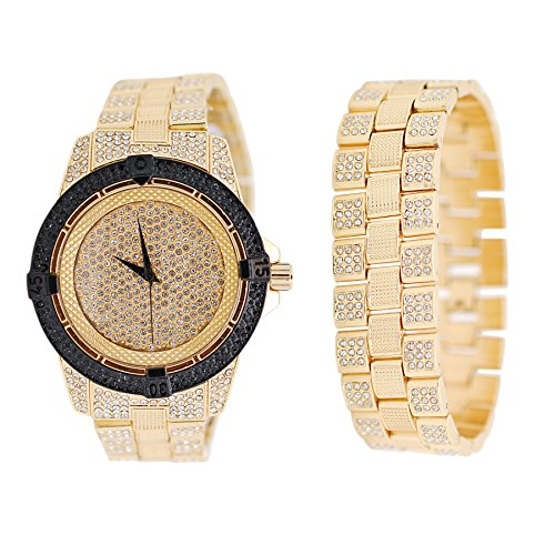 Mens Iced Out Simulated Diamond Gold Tone Black Bezel Watch and Bracelet Gift Set