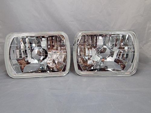 H6054 7x6 Chrome Housing Diamond Cut Headlights Replacement Glass H4  7x6