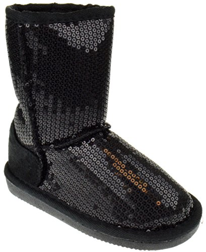 Pom-016KM Little Girls Sequin Slip On Shearling Boots Black 1 for $<!--$27.99-->