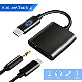 USB C to 3.5mm Audio Adapter, HiMusic 2 in 1 USB Type C Male to 3.5mm Female Stereo Earphone Converter Dongle and Charging Adapter for Google Pixel 2/2 XL, HTC U11 and More Type C Devices (Black)