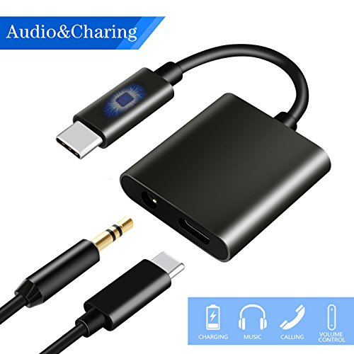 USB C to 3.5mm Audio Adapter, HiMusic 2 in 1 USB Type C Male to 3.5mm Female Stereo Earphone Converter Dongle and Charging Adapter for Google Pixel 2/2 XL, HTC U11 and More Type C Devices (Black) from HiMusic