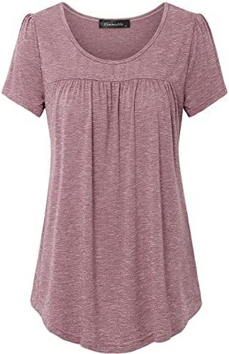 Vinmatto Women's Scoop Neck Pleated Blouse Top Tunic Shirt