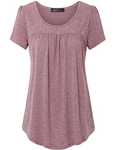 Vinmatto Women's Scoop Neck Pleated Blouse Top Tunic Shirt(L,Red)