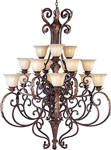 Maxim 13567CFAF Augusta 15-Light Chandelier, Auburn Florentine Finish, Cafe Glass, MB Incandescent Incandescent Bulb , 40W Max., Dry Safety Rating, Standard Dimmable, Opal Glass Shade Material, Rated Lumens